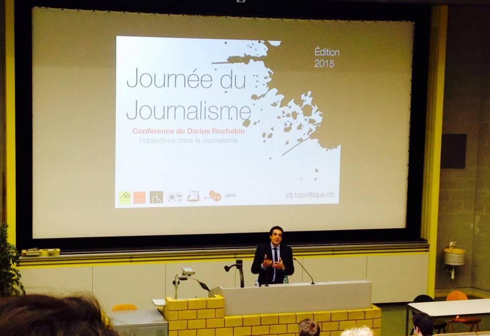 La conférence de Darius Rochebin organisée par Topo lors de la journée du journalisme 2015.